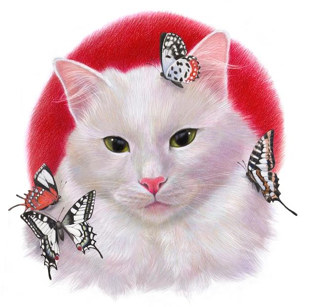 Реалистичный цветной портрет белого кота с бабочками. рисунок на белом фоне.