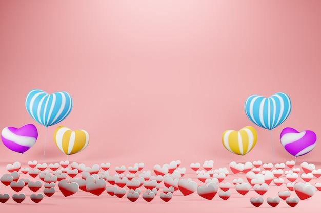 Реалистичные красочные романтические сердечки на день св. валентина в красном или розовом цвете