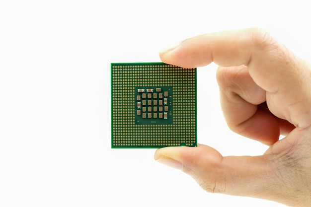 Realistic cpu back view processor chip in hand on white background