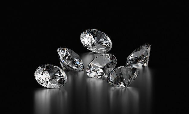 Realistic diamonds on black background