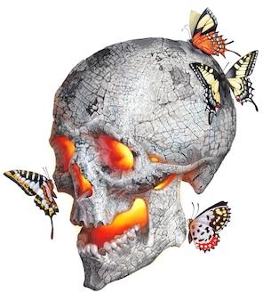 人間の頭蓋骨のリアルな描画。カラーイラスト:燃える灰の頭蓋骨と蝶。