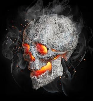人間の頭蓋骨のリアルな描画。カラーイラスト:頭蓋骨、灰、煙、石炭、火。