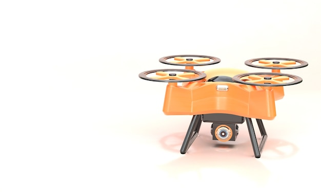 Realistic drone with camera on white background