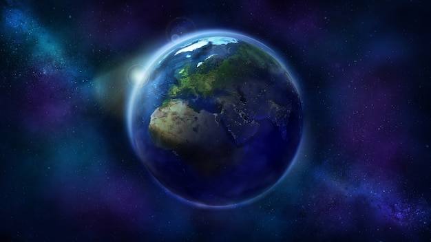 Реалистичная земля из космоса, показывающая африку, европу и азию