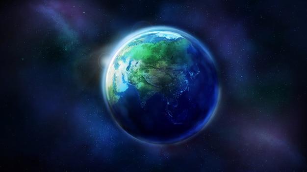 Реалистичная земля из космоса, показывающая, что глобус азии наполовину освещен солнцем