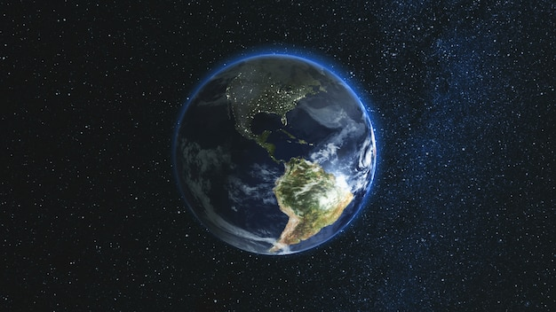 Realistic earth planet against the the star sky