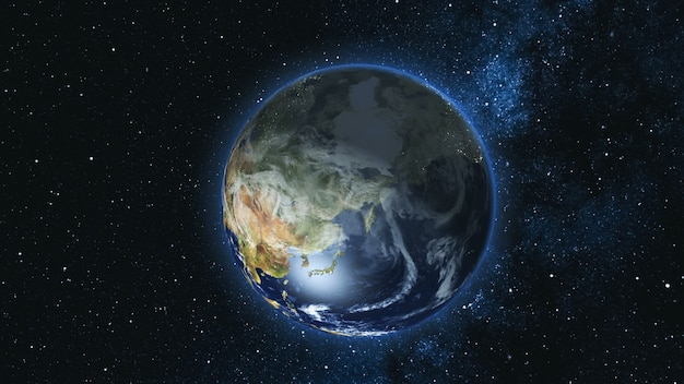 Realistic earth planet, rotating on its axis in space against the background of the milky way star sky