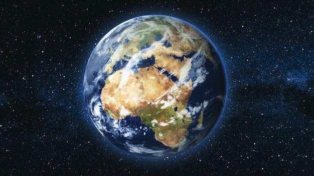 은하수 별 하늘을 배경으로 공간에서 축을 중심으로 회전하는 현실적인 지구 행성