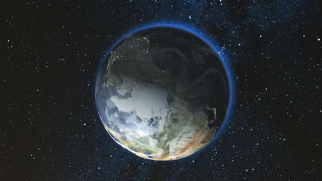 Реалистичная планета земля, вращающаяся вокруг своей оси в космосе на фоне звездного неба. бесшовная петля. концепция астрономии и науки. огни ночного города. элементы изображения, предоставленные наса