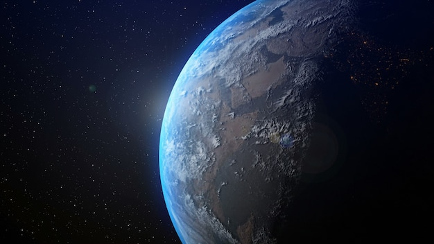 Реалистичная планета земля с восходом солнца на горизонте