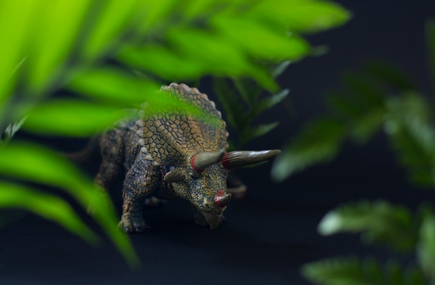 Realistic figure of the triceratops dinosaur under juicy green leaves