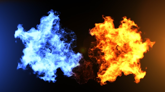 Realistic fire and ice clouds