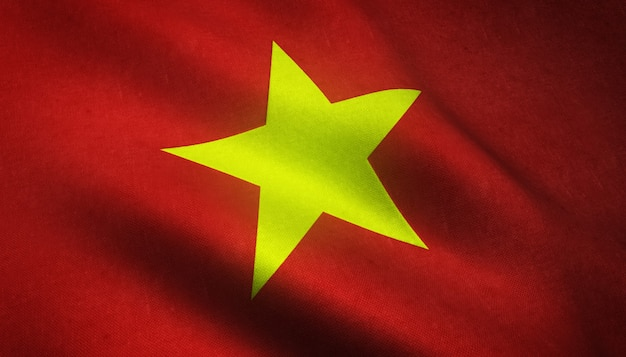 Realistic flag of vietnam
