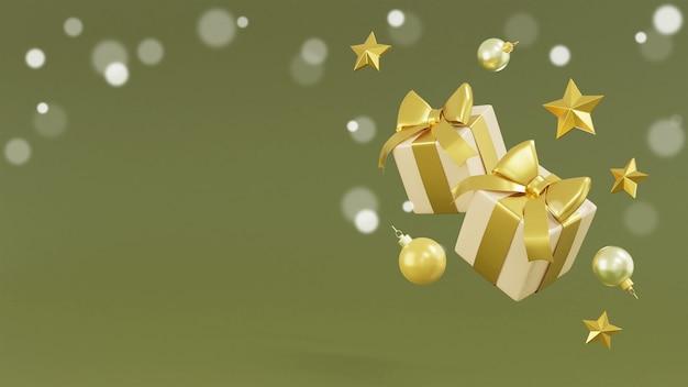 Реалистичные подарочные коробки и золотые украшения 3d-рендеринг