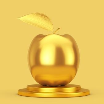 노란색 바탕에 황금 받침대에 현실적인 황금 사과. 3d 렌더링