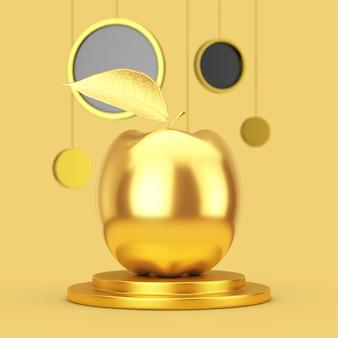 노란색 바탕에 추상적인 원을 걸고 황금 받침대에 현실적인 황금 사과. 3d 렌더링