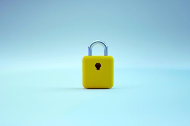 Реалистичная графическая модель золотого дверного замка с замочной скважиной. золотой замок на синем фоне изолированных. трехмерный графический объект одного замка. 3d графика