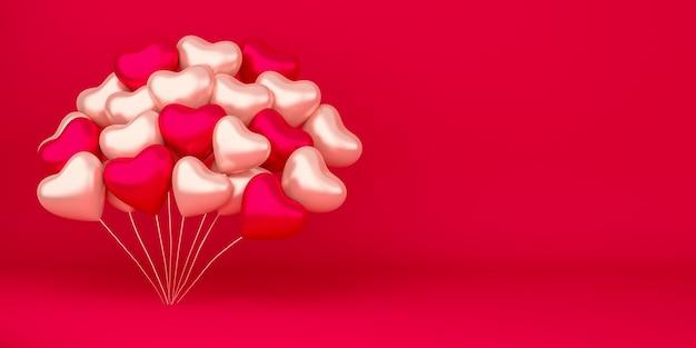 ハートの形の風船の装飾と現実的な幸せなバレンタインデーの背景