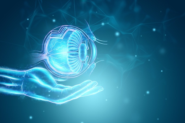 医療指標を備えたリアルな人間の目のホログラム。ビジョンの概念、レーザー眼科手術、catheract、ostegmatism、現代の眼科医。 3dイラスト、3dレンダリング