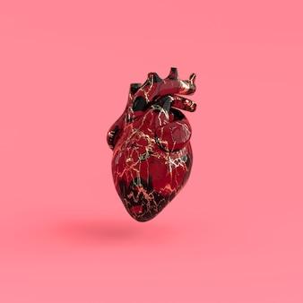 Реалистичный человеческий орган сердца с артериями и аортой