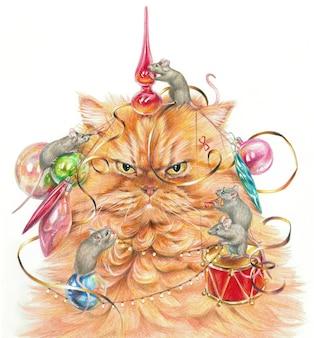 색연필로 그린 현실적인 그림입니다. 쥐는 불쾌한 고양이를 크리스마스 장난감으로 장식합니다.