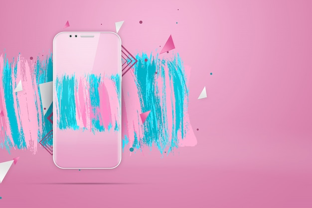 Realistic illustration with a picturea smartphonea pink