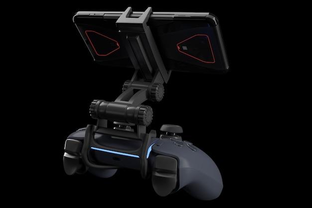 黒で隔離の携帯電話でゲームをプレイするための現実的なジョイスティック