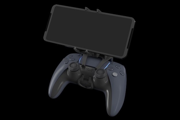 Realistic joystick for playing games on a mobile phone isolated on black