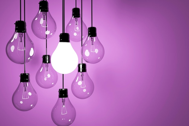 Realistic lightbulbs in purple