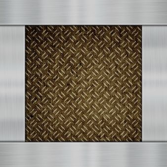 Блестящие металлические пластины на фоне углеродного волокна