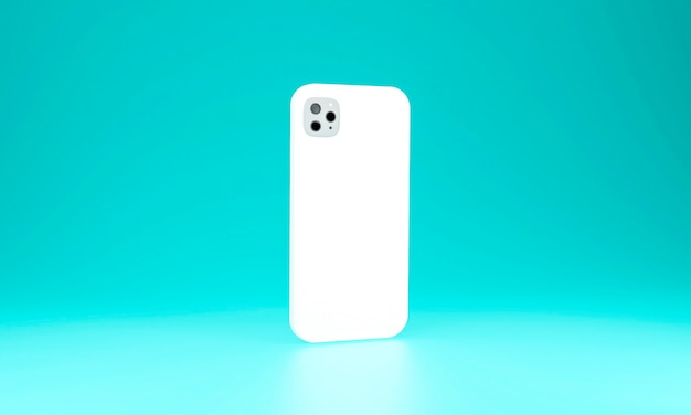 현실적인 휴대 전화 케이스 스마트 폰 파란색 배경에 고립. 3d 일러스트레이션