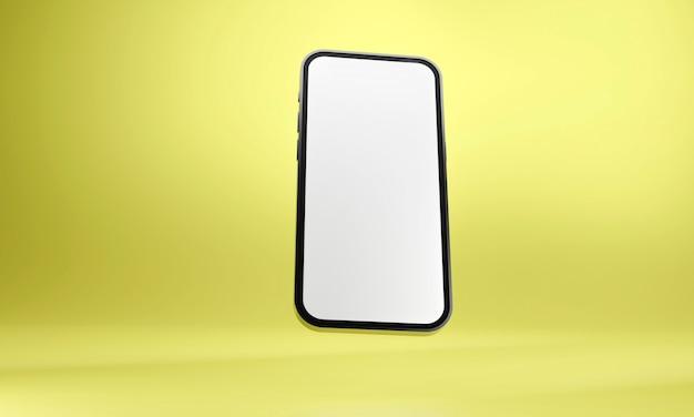 현실적인 휴대 전화 스마트 폰 노란색 background.3d 그림에 고립
