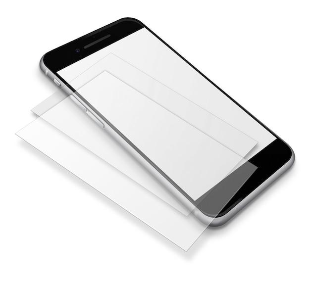Реалистичный смартфон с сенсорным экраном мобильного телефона с пустыми экранами и тенями