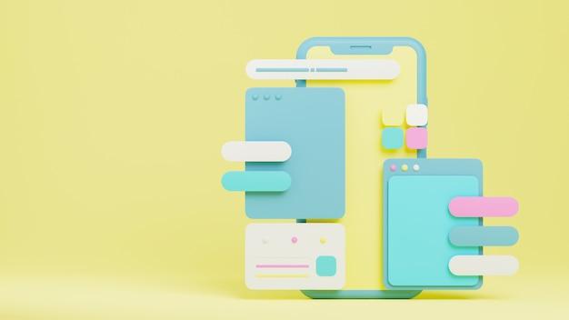 Реалистичный мобильный телефон с приборной панелью для бизнеса и концепции цифрового маркетинга. 3d представляют иллюстрацию.