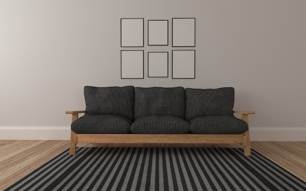 Realistic mockup of 3d rendered of interior of modern living room with sofa and frame