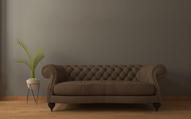 Realistic mockup of living room inerior
