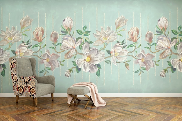 Realistic modern interior with floral wall art