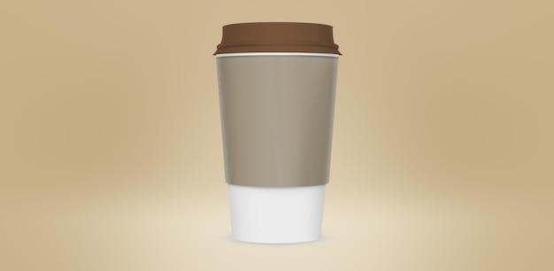 Realistic of paper coffee cups