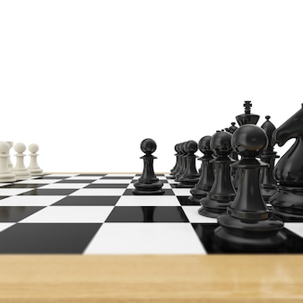Realistic pawn staying against full set of chess pieces.