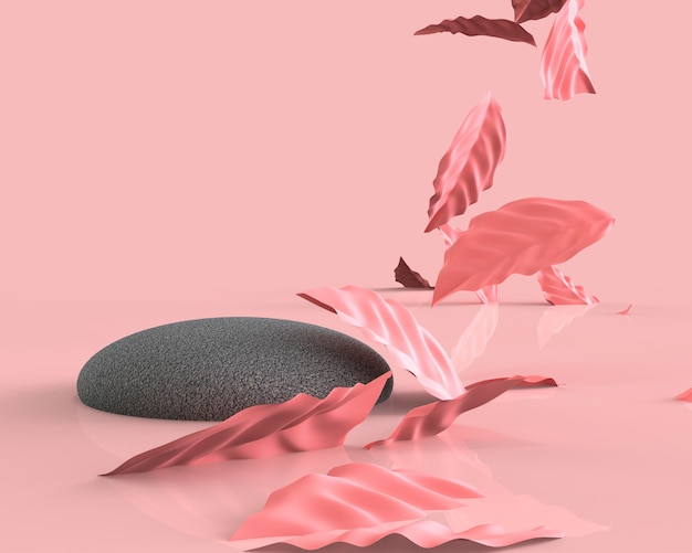 Realistic pink leaves with a stone