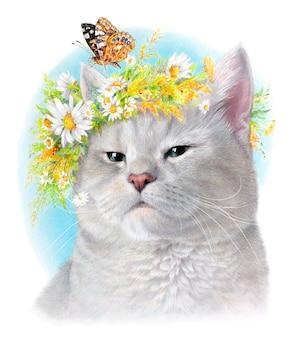 데이지와 나비의 화 환을 가진 회색 고양이의 현실적인 초상화. 흰색 배경에 고립. 컬러 초상화