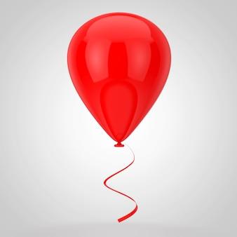 白い背景の上の現実的な赤い空白のモックアップバルーン。 3dレンダリング