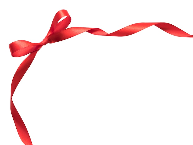Realistic red satin ribbon frame on white background with copyspace for your text.