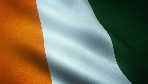 Realistic rendering of the flag of ivory coast