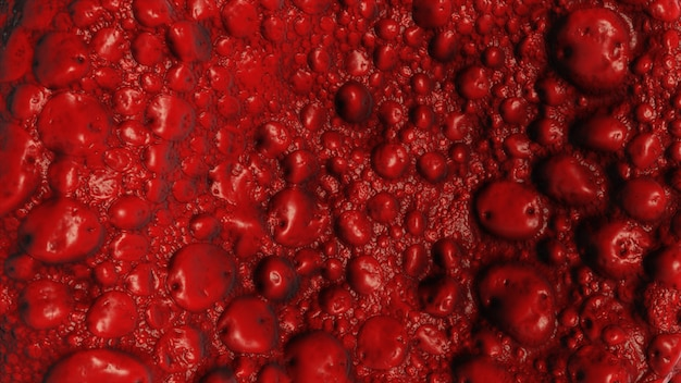 赤い色でバクテリアをリアルに表現