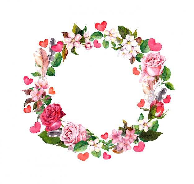 Realistic roses wreath