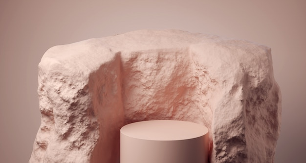 Реалистичный округлый подиум внутри камня