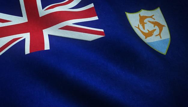 Реалистичный снимок развевающегося флага ангильи с интересными текстурами