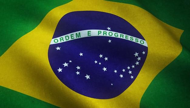 Реалистичный снимок развевающегося флага бразилии с интересными текстурами