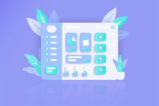 Веб-сайт панели инструментов в реалистичном стиле с плоским цветом